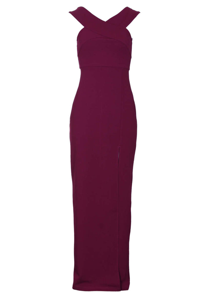 Plum Off The Shoulder Side Split Maxi Dress