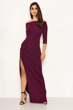 Plum Off The Shoulder Slit Maxi Dress