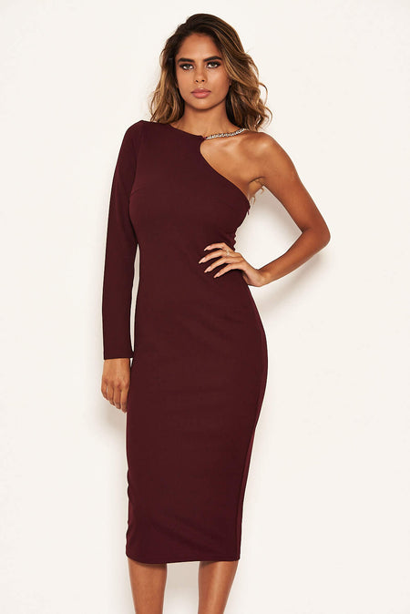 Red Boat Neck Dress With Ruched Detail
