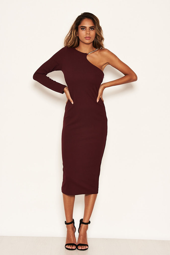 Plum One Shoulder Midi Dress With Chain Detail