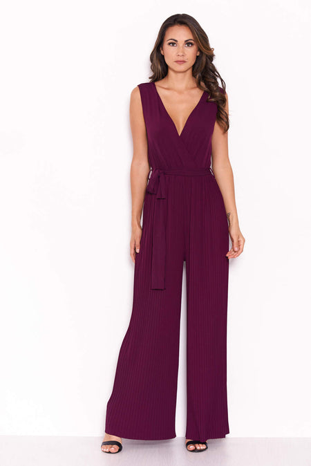 Navy V-Neck Culotte Jumpsuit