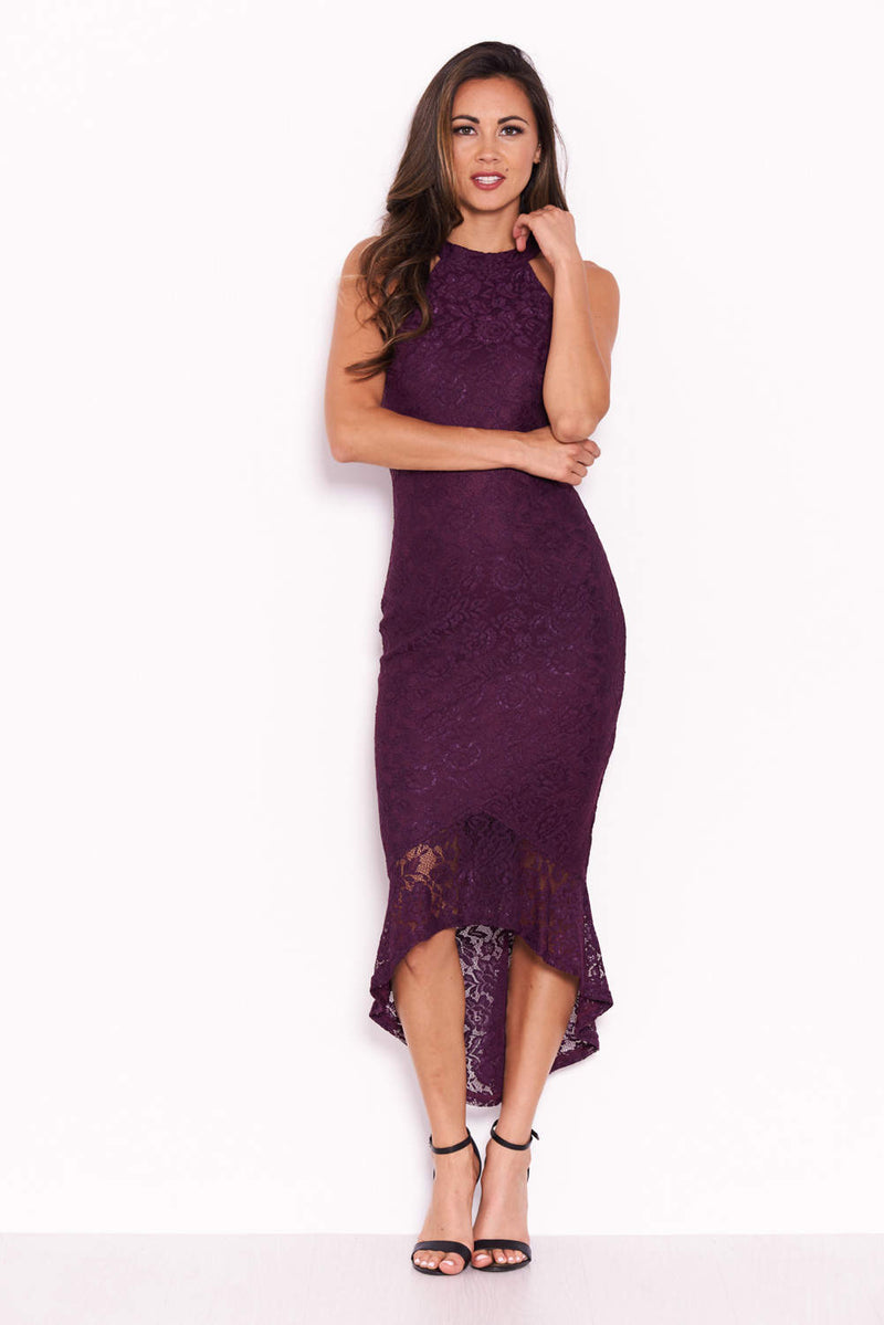 Plum Racer Neck Fishtail Dress