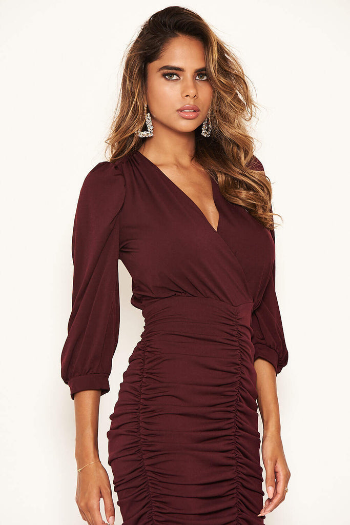 Plum Ruched Bodycon Dress With Cut Out Back