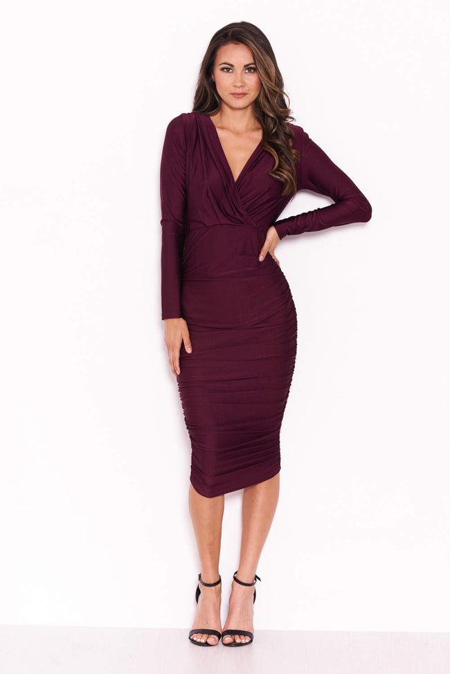 Plum Ruched Wrap Dress