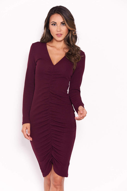Plum Ruched Sleeved Dress
