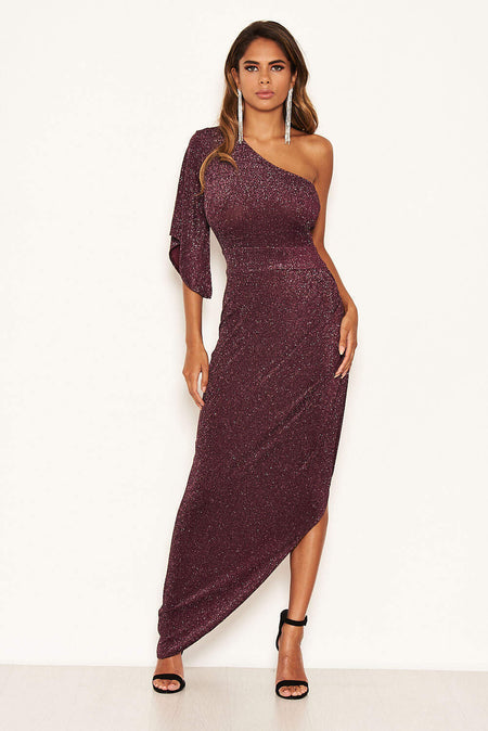 Plum One Shoulder Sequin Embroidered Bodycon