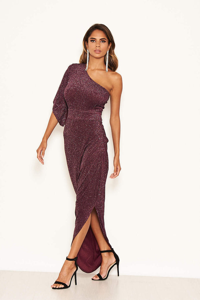 Plum Sparkle One Shoulder Dress