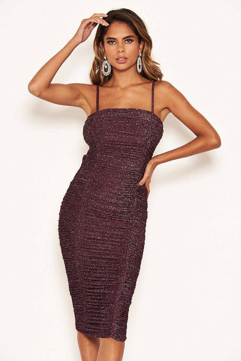 Plum Sparkle Strappy Ruched Dress