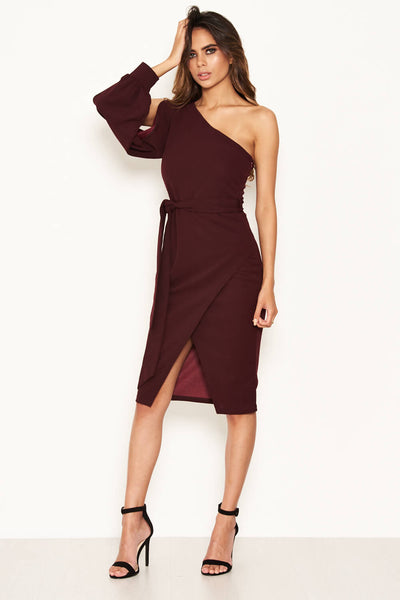 Plum Split Sleeve One Shoulder Bodycon Midi Dress