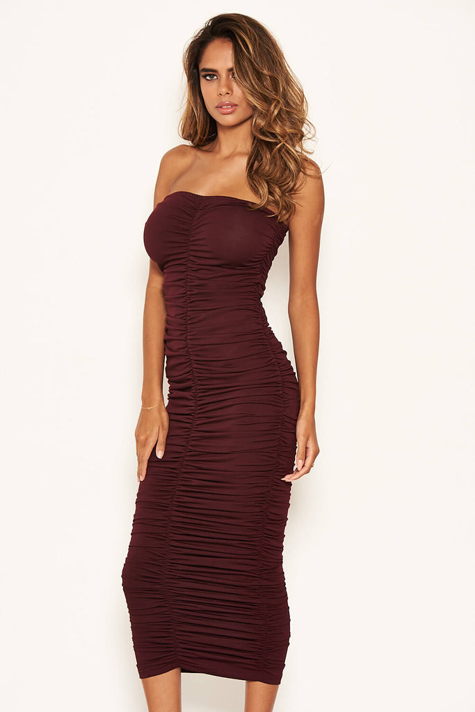 Plum Strapless Ruched Bodycon Midi Dress