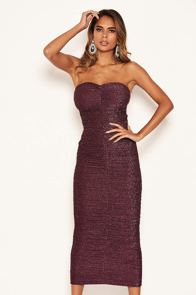 Plum Strapless Ruched Sparkle Dress