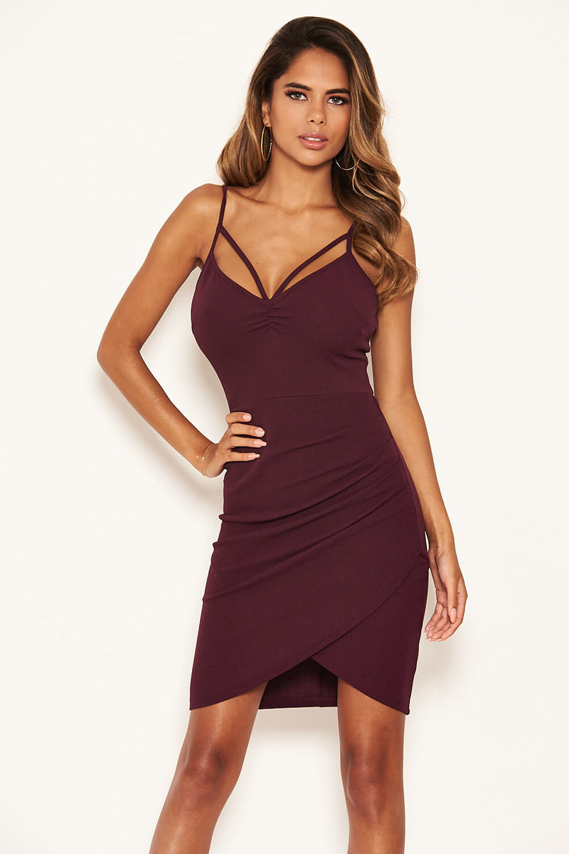 Plum Strappy Ruched Bodycon Dress