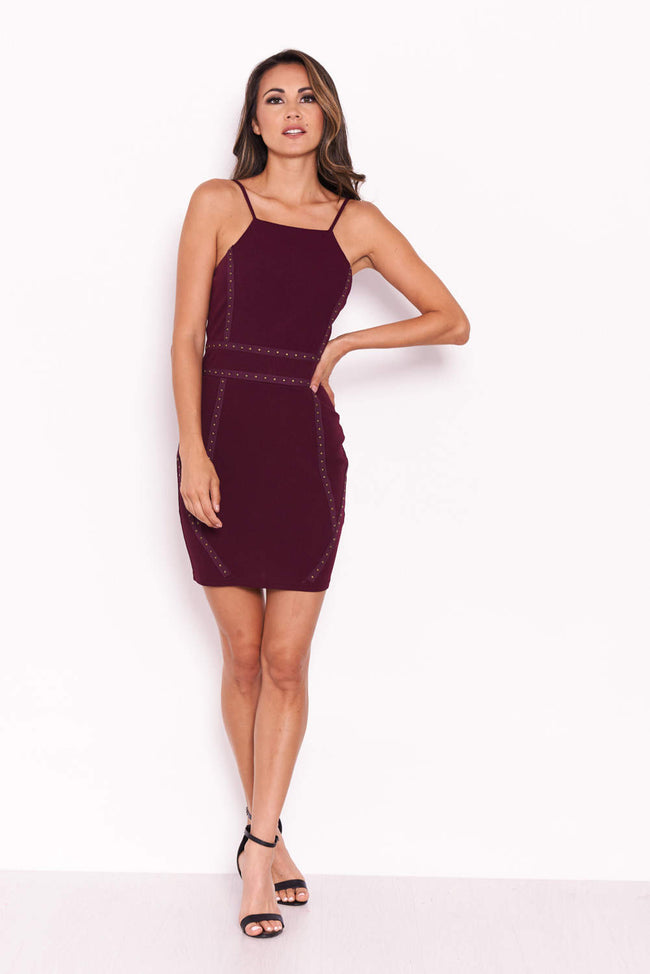 Plum Strappy Stud Front Bodycon Mini Dress