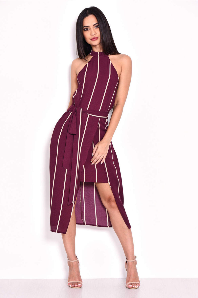 Plum Striped Tie Waist Dress