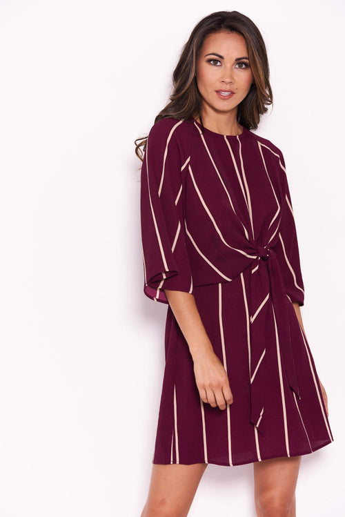 Plum Striped Tie Waist Mini Dress