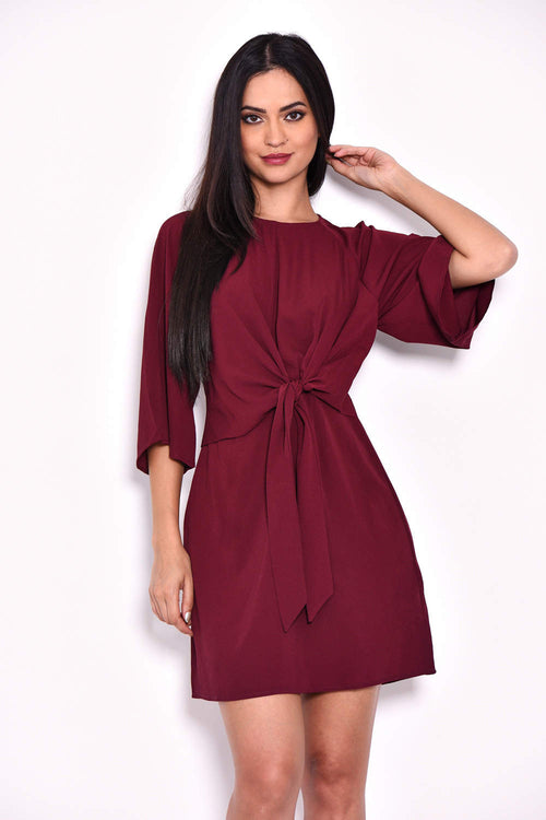 Plum Tie Waist Flared Mini Dress
