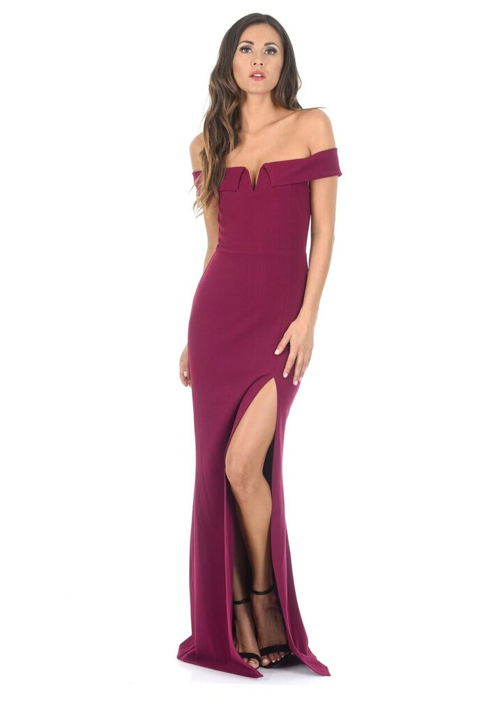 Plum V Front Bardot Side Split Maxi Dress
