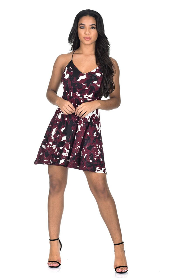 Plum V-Neck Printed Strappy Skater Dress