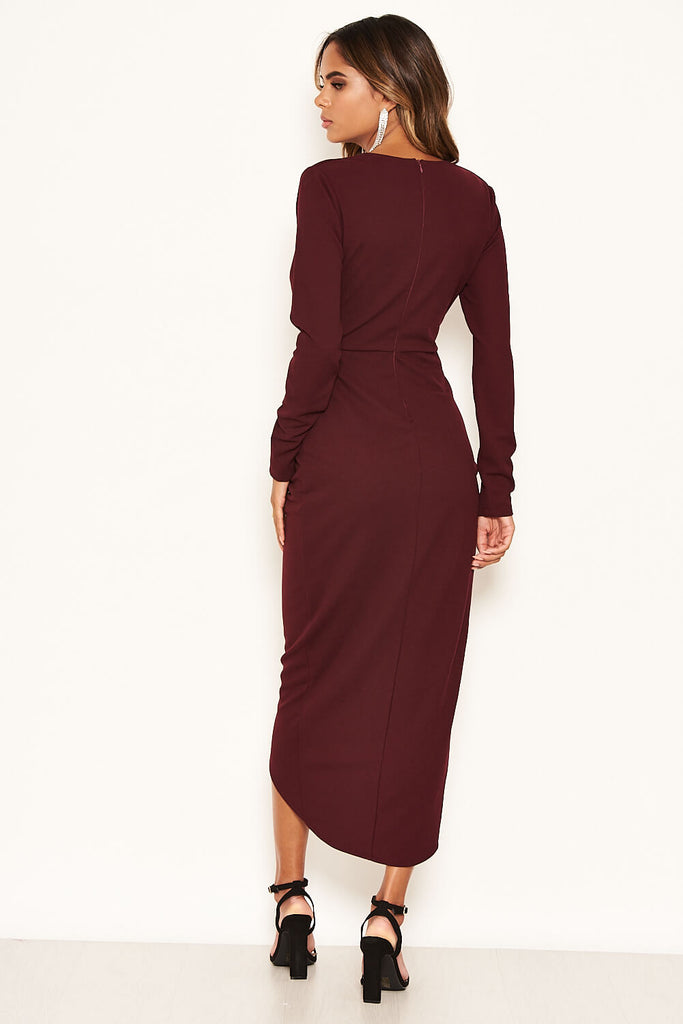Plum Wrap Bodycon Ruched Dress