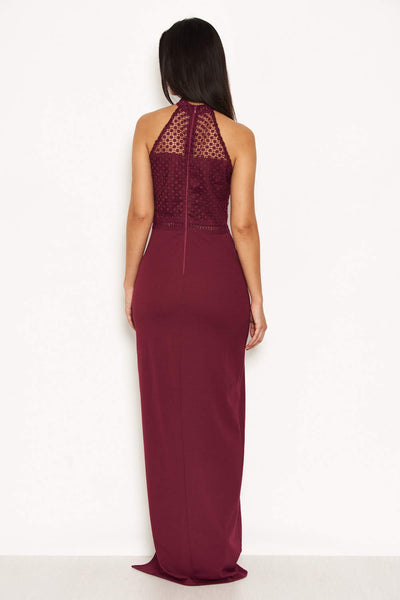 Plum Crochet Top High Neck Maxi Dress