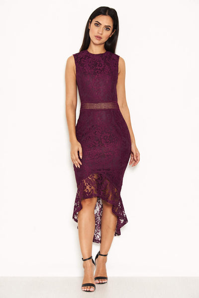 Plum Fishtail Hem Lace Midi Dress