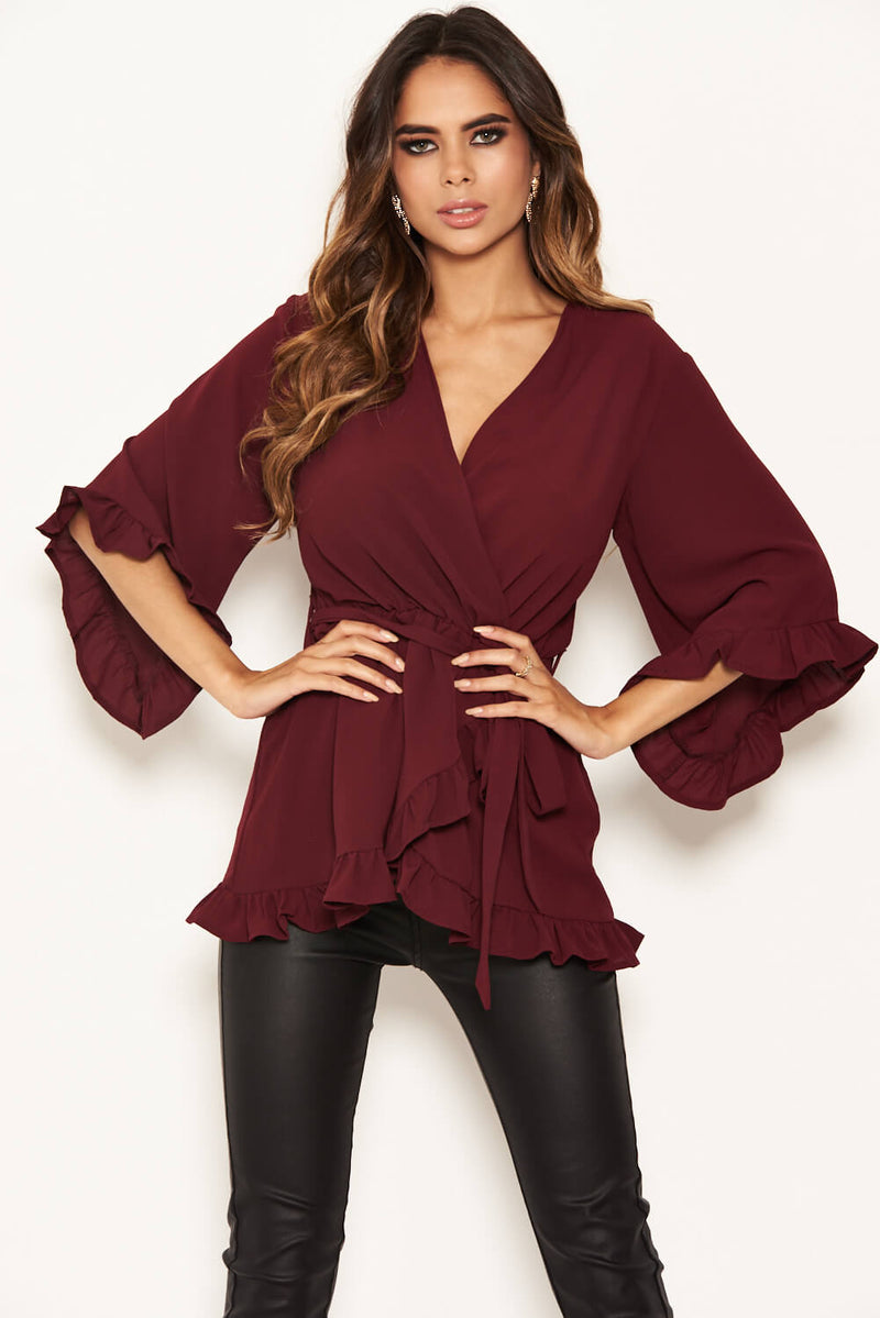 Plum Frill Wrap Top