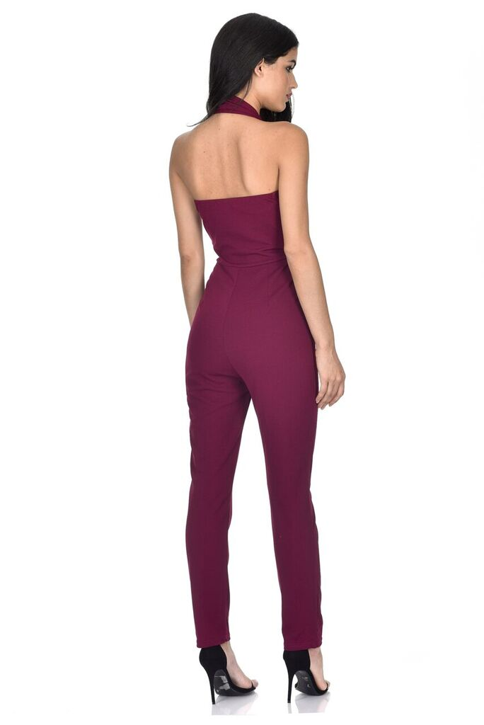 Plum Halter Neck Jumpsuit