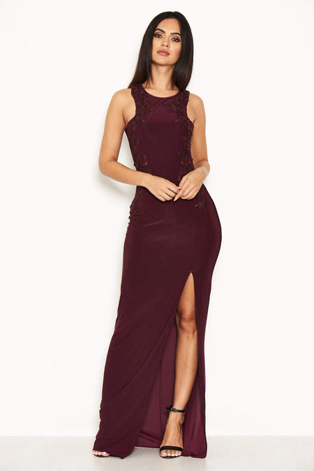 Plum Lace Notch Front Midi Dress