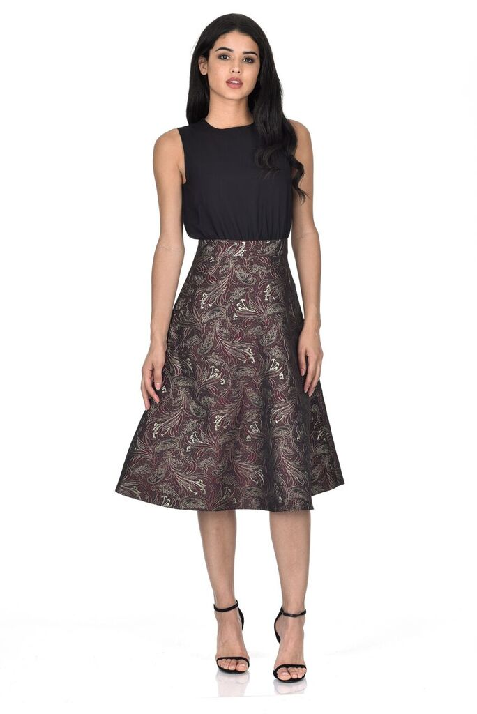 Plum Printed Metallic 2 in 1 Midi Dress