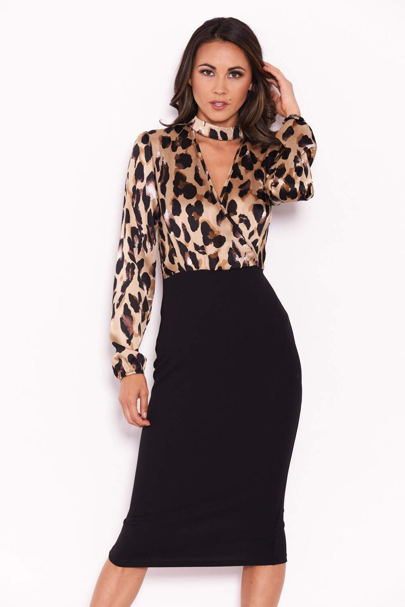 Plunge Leopard Print 2 In 1 Dress