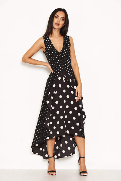 Black Polka Dot Asymmetric Dress