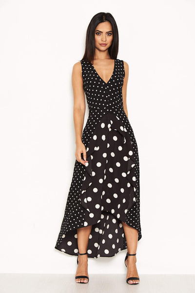 fa32b8bdef9 Black Polka Dot Asymmetric Dress – AX Paris