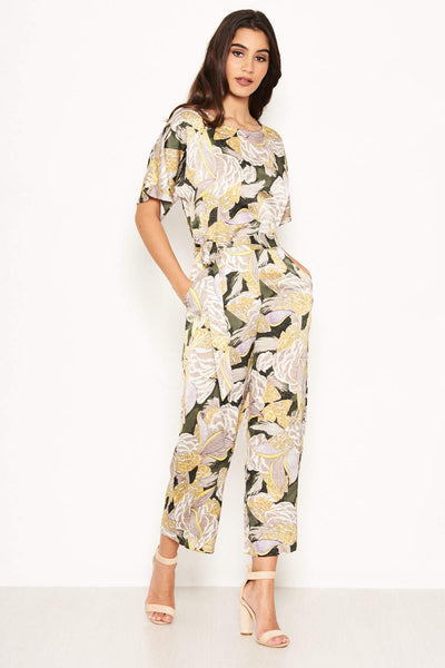 Printed Tie Belt Culotte Jumpsuit