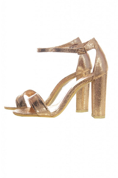 Rose Gold Metallic Block Heels