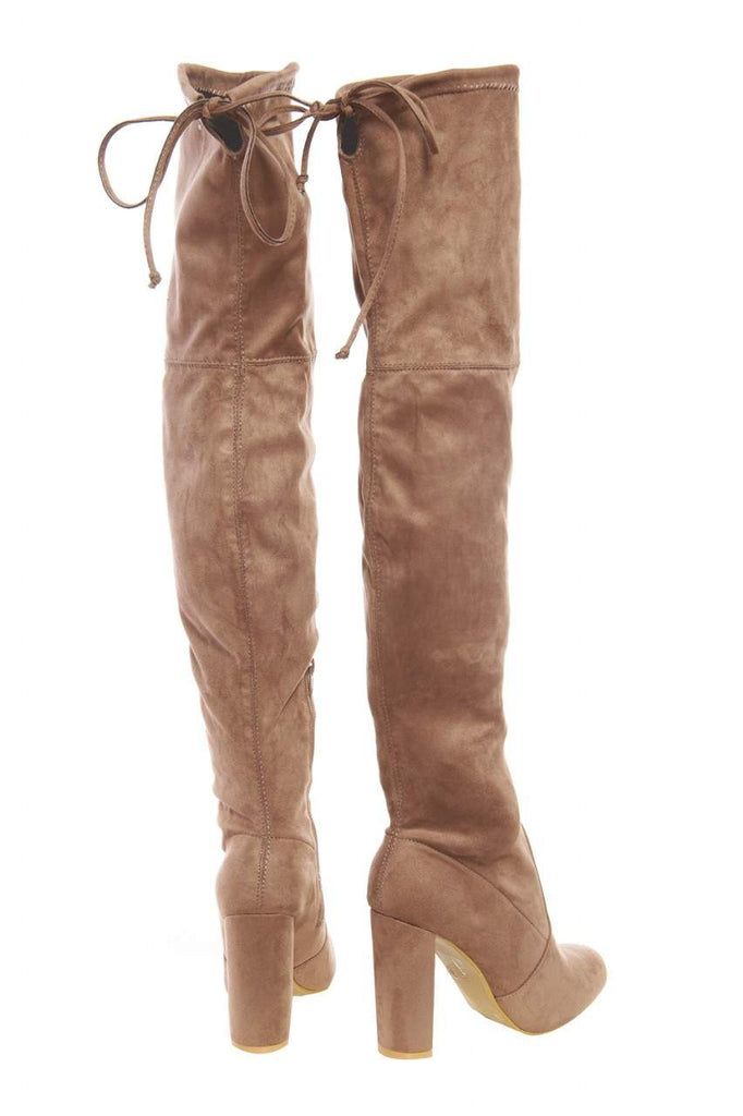 Faux  Suede Knee High Heeled Boots