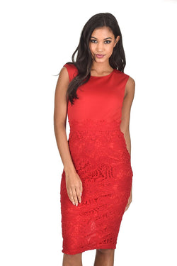 Red Crochet Skirt Midi Dress