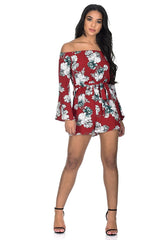 Red Floral Bardot Flared Sleeve Playsuit