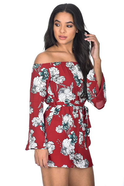 ae0c1917bfe Red Floral Bardot Flared Sleeve Playsuit – AX Paris