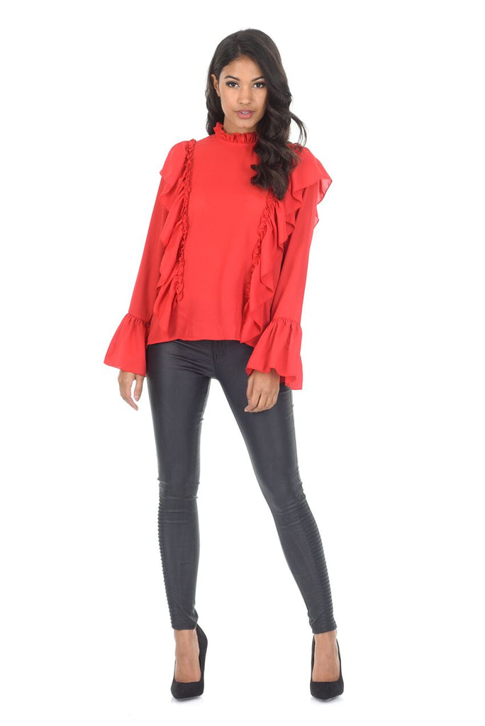 Red Frill Long Sleeved Top