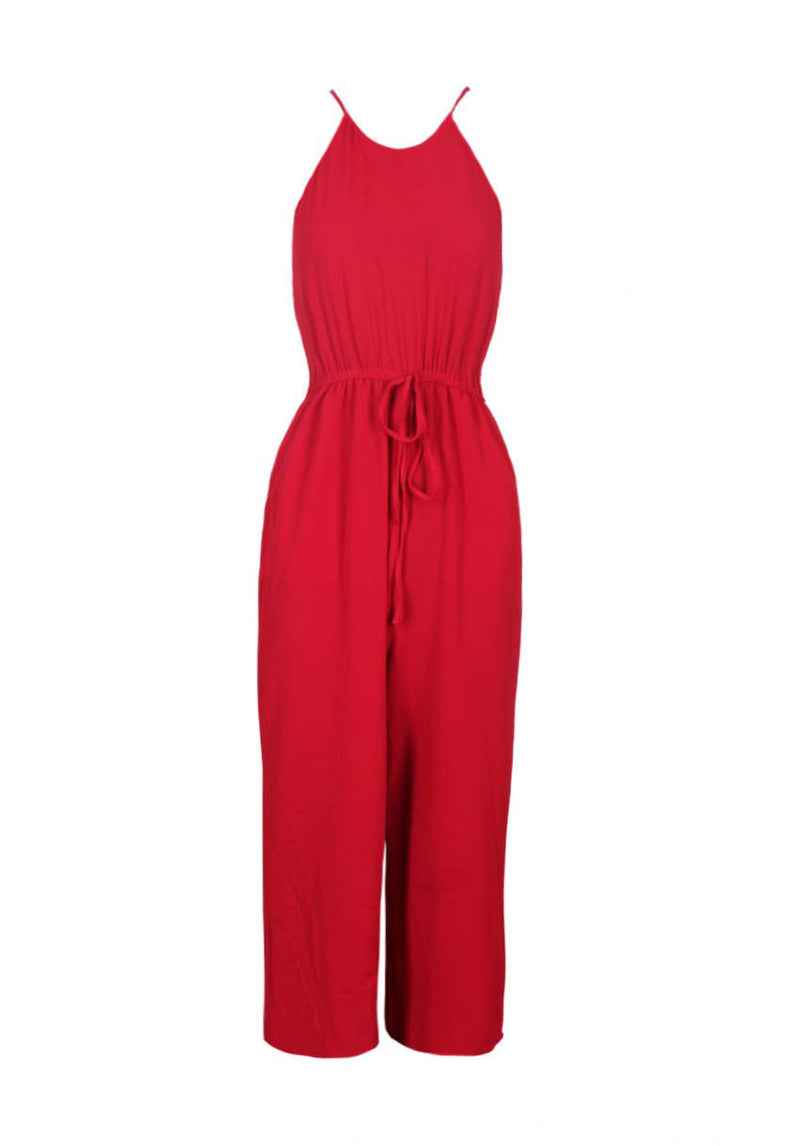 Red High Neck Culotte Jumpsuit