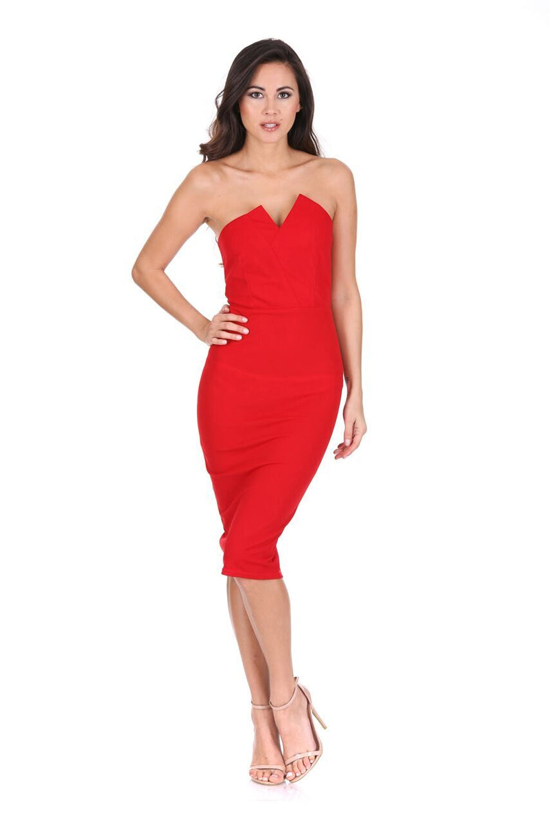 Red Notch Front Bodycon Dress