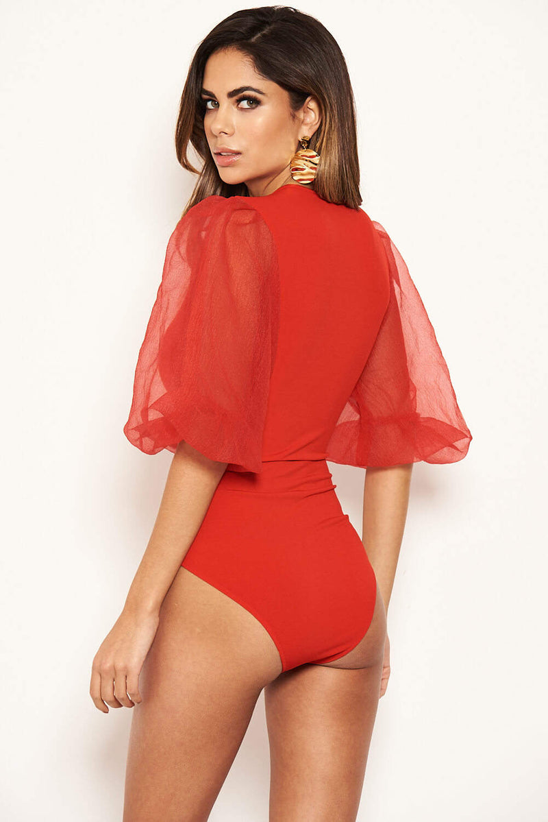 Red Puff Sleeve Bodysuit