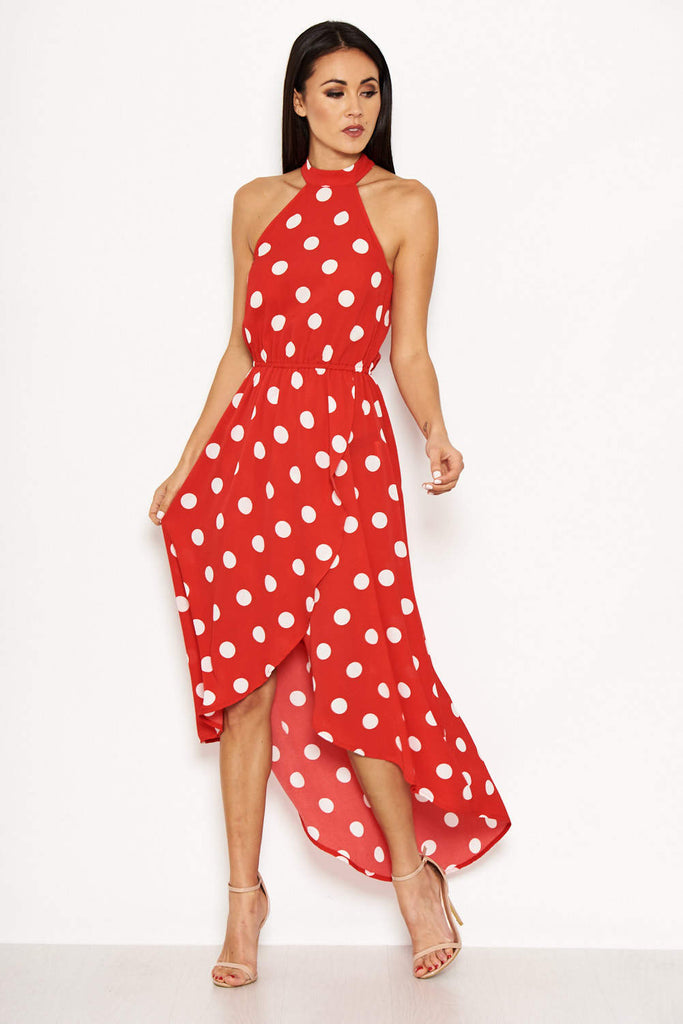 Red Polka Dot High Neck Wrap Dress