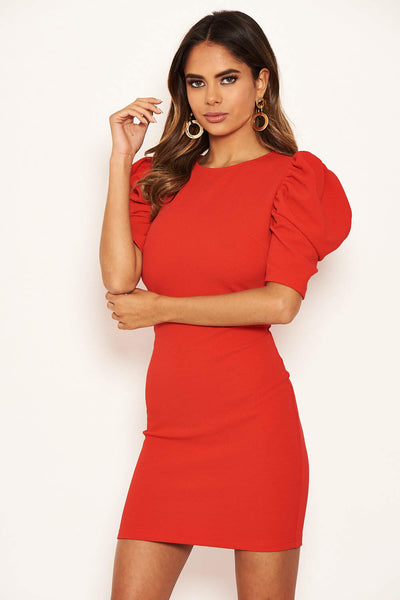 Red Ruffle Sleeve Bodycon Dress