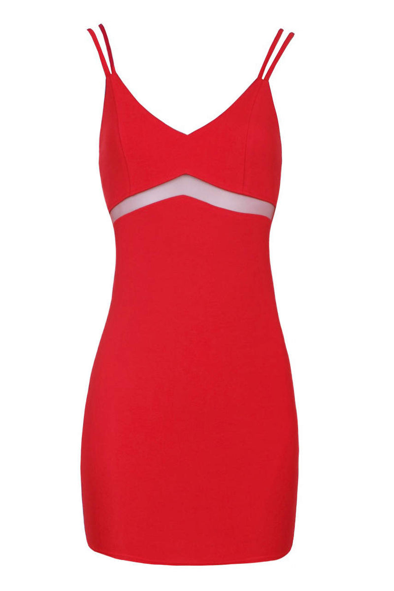 Red Strappy Mesh Insert Bodycon Dress