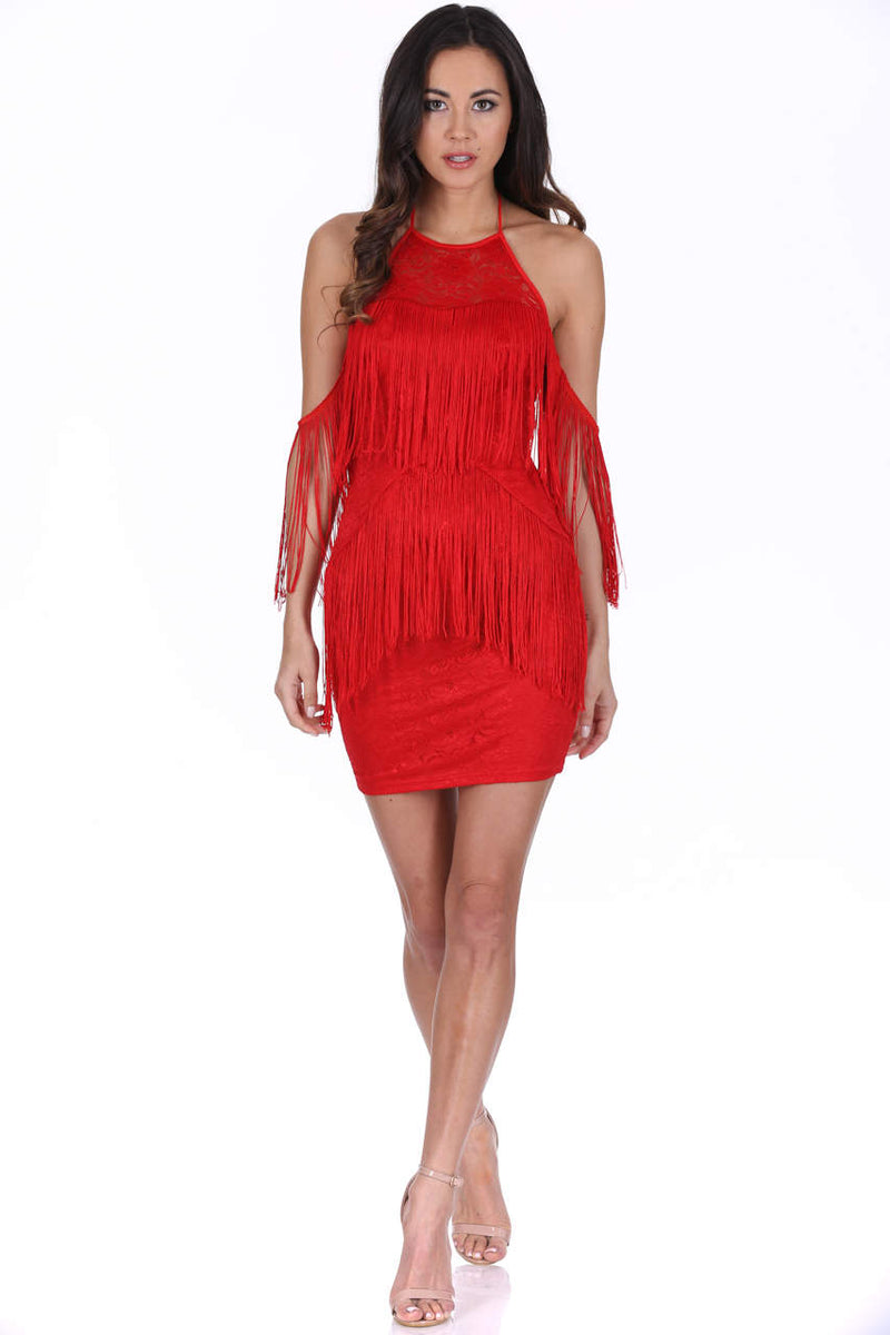Red Tassel Detail Cold Shoulder Mini Dress