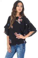 Black Floral Frill Sleeved Top