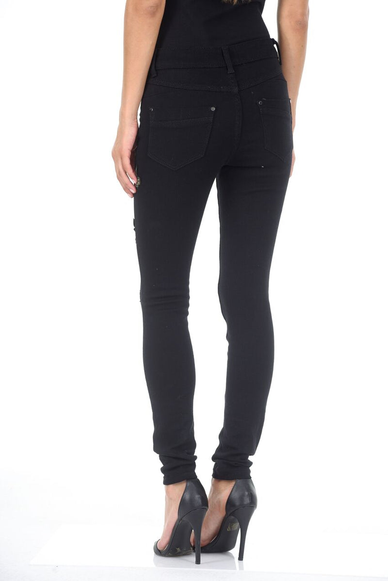 Black Embroided Jeans