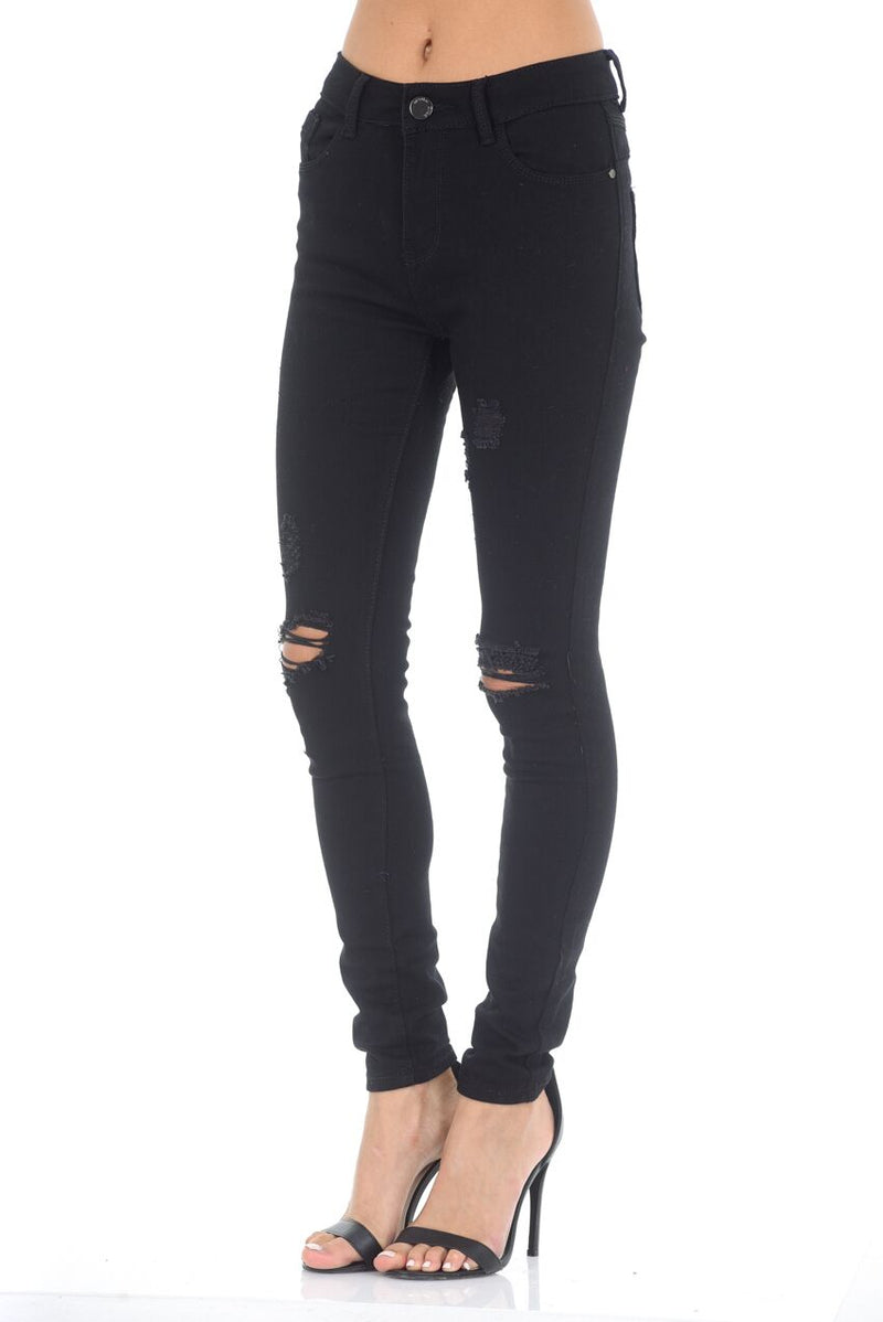 Black Distressed Ripped Knee Jeans