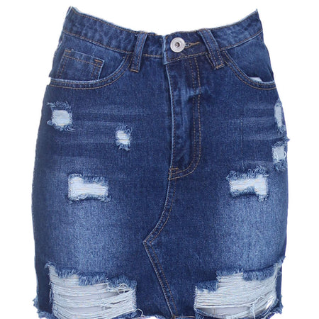 Denim Ripped Mini Skirt